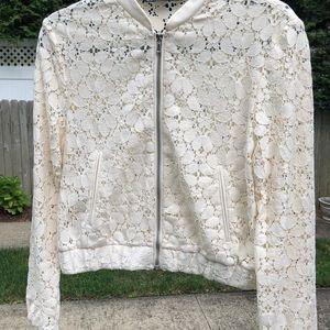 Zara Basic ivory lace bomber jacket.